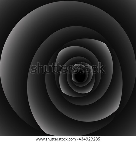 Optical illusion in the form of a swirling monochrome black-and-white spiral of many petals. - stock vector