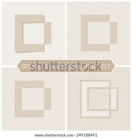 Optical Illusion Letter D, Abstract Pattern Vector Font Set - stock vector
