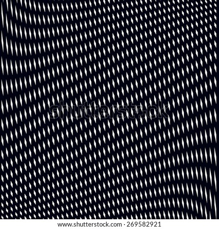Optical illusion, moire background, abstract lined monochrome tiling. Unusual vector geometric pattern with visual effects. - stock vector