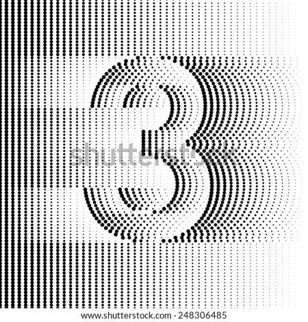 Optical Illusion number 3 - part of Dotted Optical iIllusion Alphabet  - stock vector
