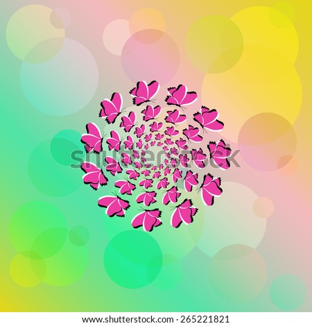 Optical illusion of the movement. The bright abstract background with flying lilac butterflies. EPS10 - stock vector