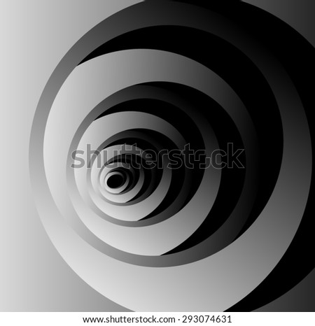 Optical illusion of volume monochrome fractal cocoon where new petals out of the previous. - stock vector