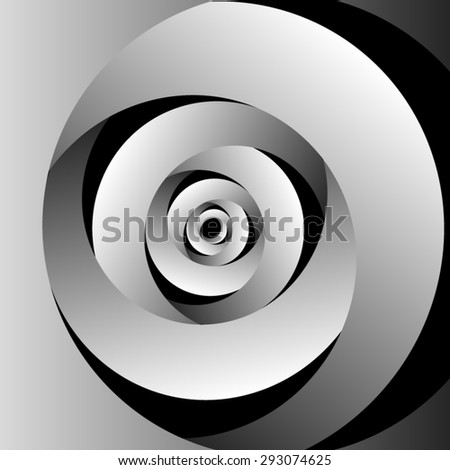 Optical illusion of volume monochrome screw on a black background thick spiral. - stock vector