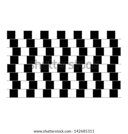 optical illusion parallel lines - stock vector