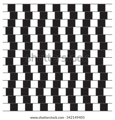 Optical Illusion. Parallel lines that appear to be broken. Opt Art Illustration for your design.  Use for cards, invitation, wallpapers, pattern fills, web pages elements and etc. - stock vector