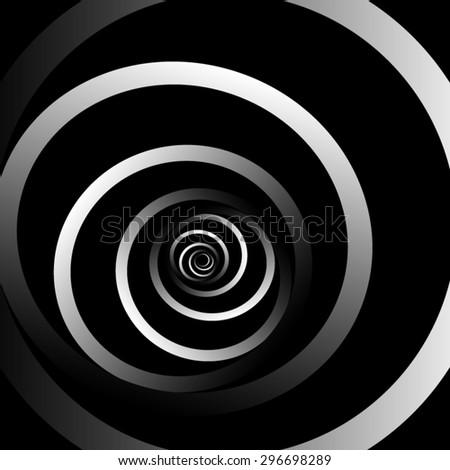 Optical illusion. Peeking out of the dark, twisted into a single rare circular spiral metal strips. - stock vector