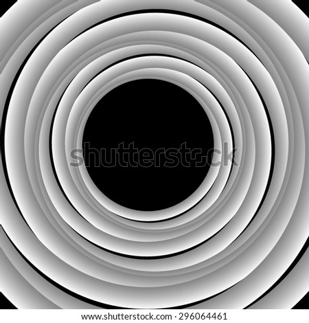 Optical illusion. Round frame of white crossing dense volume monochrome harnesses. - stock vector