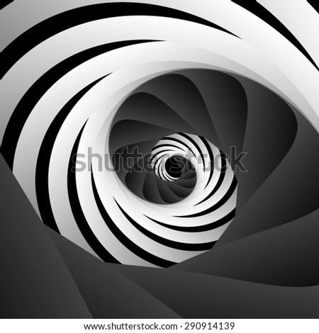 Optical illusion. Screw striped black-and-white spiral of two parts. - stock vector