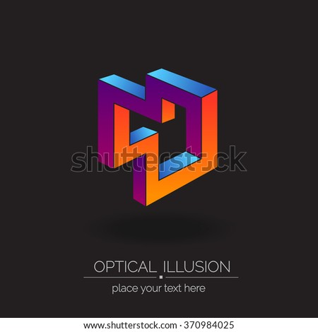 "Optical illusion series cubic logo. Abstract vector illustration. The font is called ""Raleway"". - stock vector"