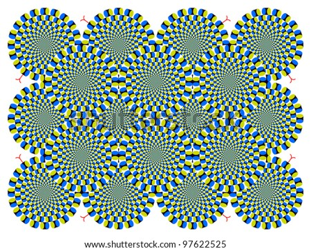 Optical illusion Spin Cycle with the shape of the snake - stock vector