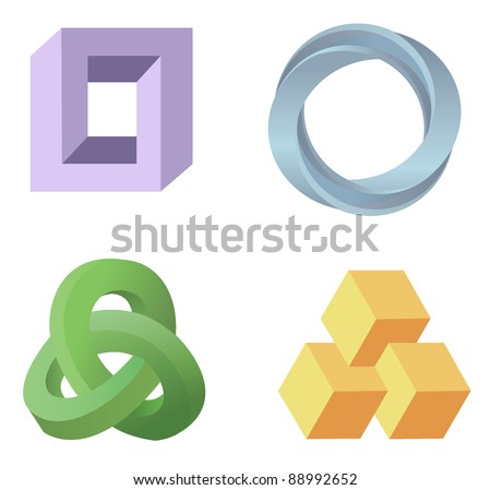 optical illusion symbols vector - stock vector