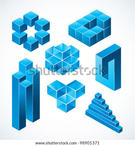 Optical illusion symbols. Vector illustration. - stock vector