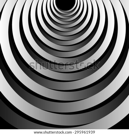 Optical illusion. Symmetrical fractal radiating from the center of the top volume monochrome floor ellipses. - stock vector