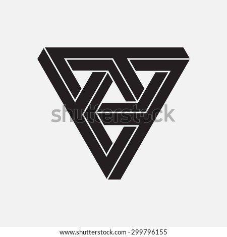 Optical illusion, triangles, geometric element, vector illustration - stock vector
