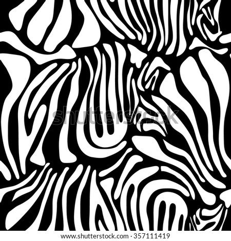 Optical illusion zebra seamless vector pattern. Safari textile collection. White on black. Backgrounds & textures shop. - stock vector