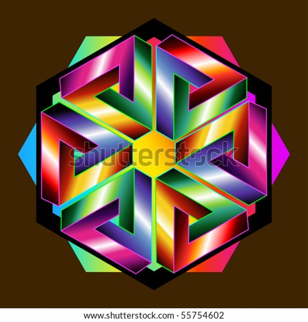 optical illusions: six Penrose triangles form a hexagon - stock vector