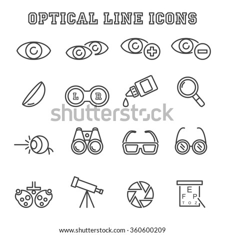 optical line icons, mono vector symbols - stock vector