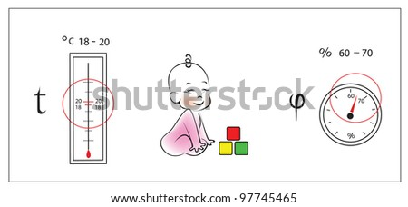 Optimal parameters of temperature and humidity in the nursery. - stock vector