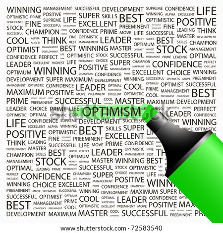 OPTIMISM. Highlighter over background with different association terms. Vector illustration.