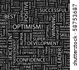 OPTIMISM. Seamless vector pattern with word cloud. Illustration with different association terms. - stock photo