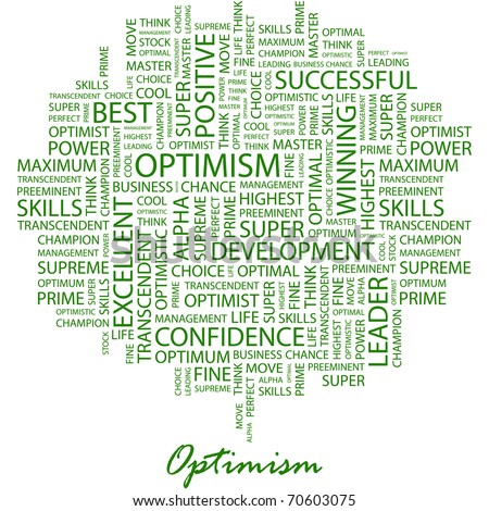 OPTIMISM. Word collage on white background. Illustration with different association terms. - stock vector