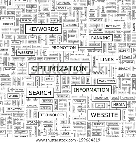 OPTIMIZATION. Seamless pattern. Word cloud illustration. Vector illustration.  - stock vector