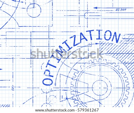 Optimization text gear wheels hand drawn stock vector 579361267 optimization text with gear wheels hand drawn on blueprint technical drawing backgroundoptimization text with gear wheels malvernweather Image collections