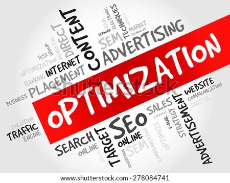 OPTIMIZATION word cloud, business concept - stock vector
