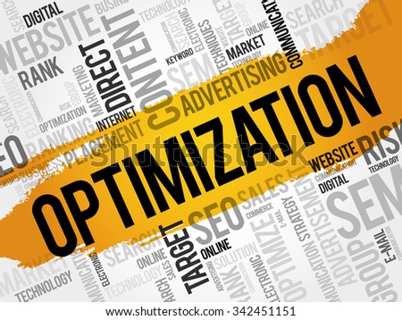 OPTIMIZATION word cloud, business concept - stock vector