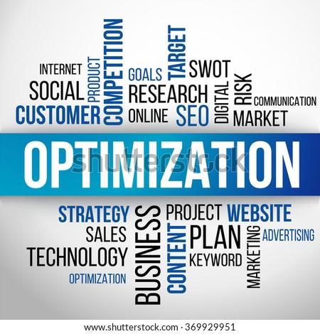 Optimization Word Cloud, business Concept Background Vector - stock vector