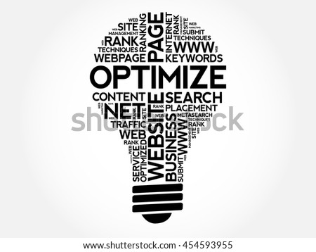 OPTIMIZE bulb word cloud collage, business concept background - stock vector