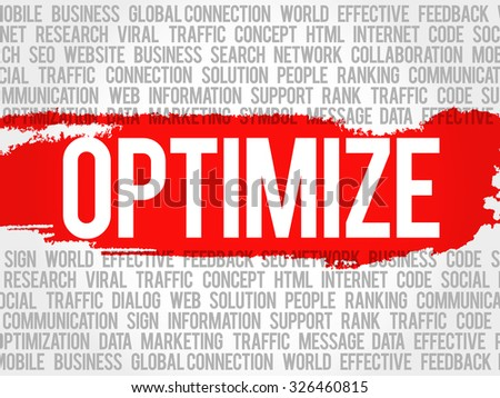 OPTIMIZE word cloud, business concept - stock vector