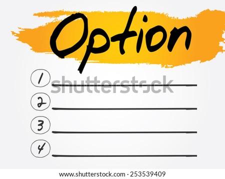 Option Blank List, vector concept background - stock vector