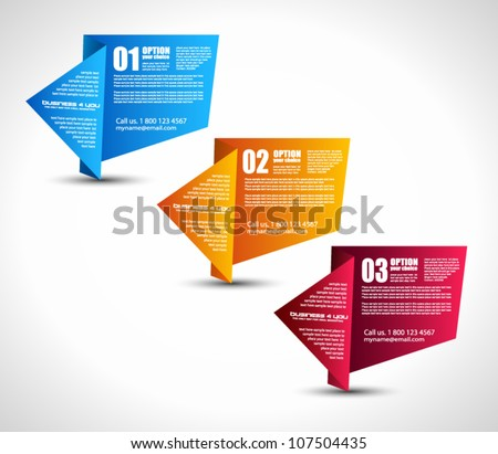 Option tag with origami paper style for infographics, brochure or business presentations. 3 different colors.