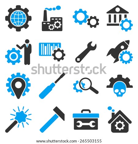 Options and service tools icon set. These bicolor icons use modern corporate light blue and gray colors, white color is not used in the symbols. - stock vector