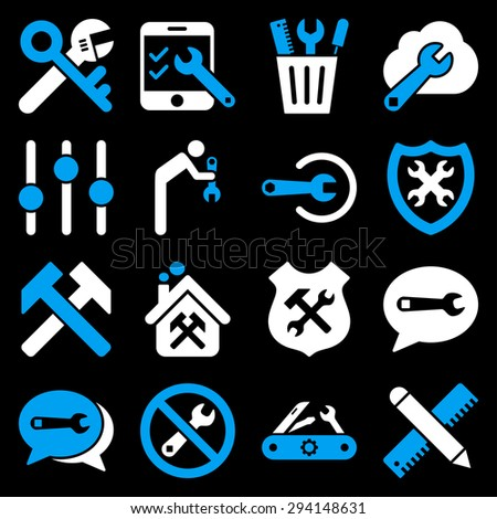Options and service tools icon set. Vector style: flat bicolor symbols, blue and white colors, rounded angles, black background. - stock vector