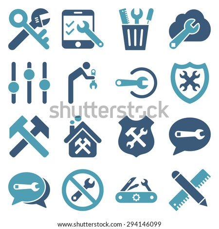 Options and service tools icon set. Vector style: flat bicolor symbols, cyan and blue colors, rounded angles, white background. - stock vector