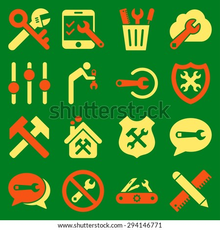 Options and service tools icon set. Vector style: flat bicolor symbols, orange and yellow colors, rounded angles, green background. - stock vector