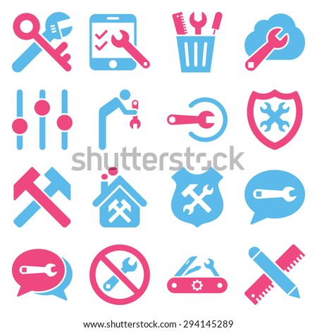 Options and service tools icon set. Vector style: flat bicolor symbols, pink and blue colors, rounded angles, white background. - stock vector
