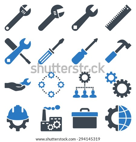 Options and service tools icon set. Vector style: flat bicolor symbols, smooth blue colors, rounded angles, white background. - stock vector