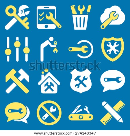 Options and service tools icon set. Vector style: flat bicolor symbols, yellow and white colors, rounded angles, blue background. - stock vector