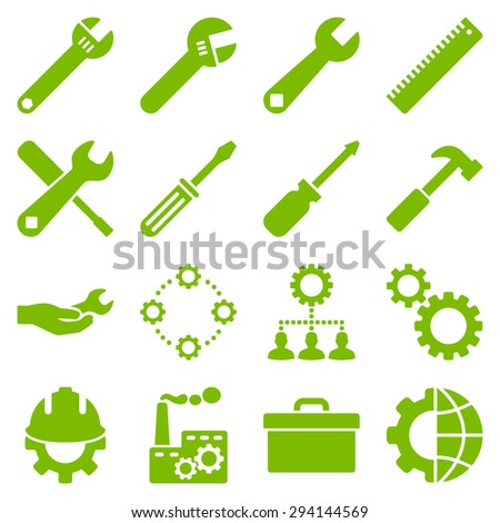 Options and service tools icon set. Vector style: flat symbols, eco green color, rounded angles, white background. - stock vector
