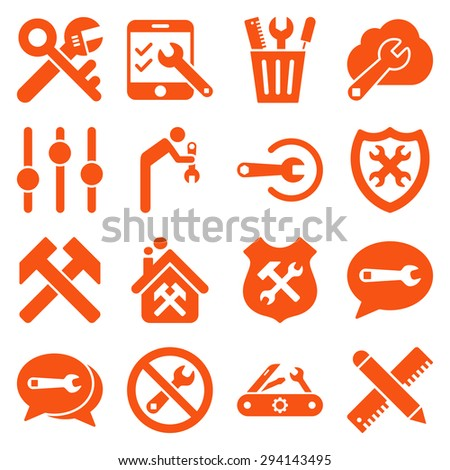 Options and service tools icon set. Vector style: flat symbols, orange color, rounded angles, white background. - stock vector