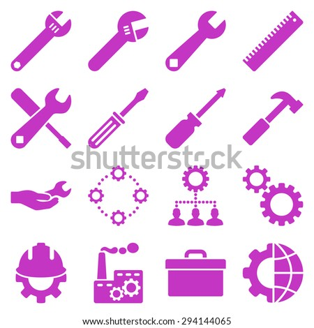 Options and service tools icon set. Vector style: flat symbols, violet color, rounded angles, white background. - stock vector