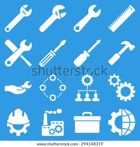 Options and service tools icon set. Vector style: flat symbols, white color, rounded angles, blue background. - stock vector