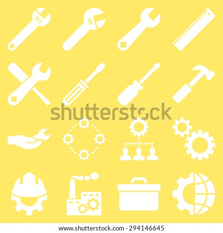 Options and service tools icon set. Vector style: flat symbols, white color, rounded angles, yellow background. - stock vector