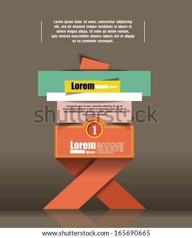 options banner design. Vector illustration modern template design. Cutout lines. origami design - stock vector