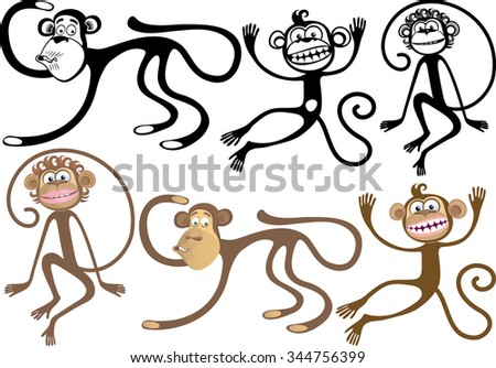 Options curved silhouettes monkeys. Symbol of the year - stock vector