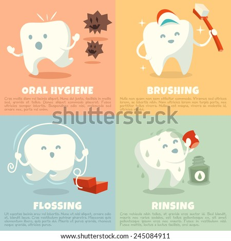Oral hygiene banners with cute tooth. Part 1. Brushing, flossing and rinsing. Vector illustration. - stock vector