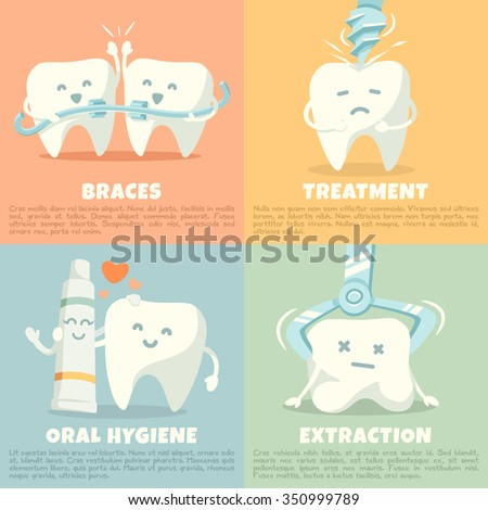 Oral hygiene banners with cute tooth. Part 2. Vector illustration.